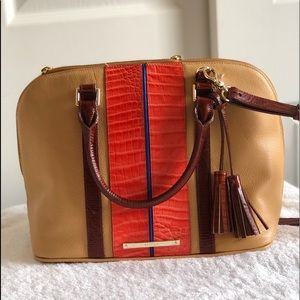 Brahmin Tan and Orange Satchel  Crossbody Bag